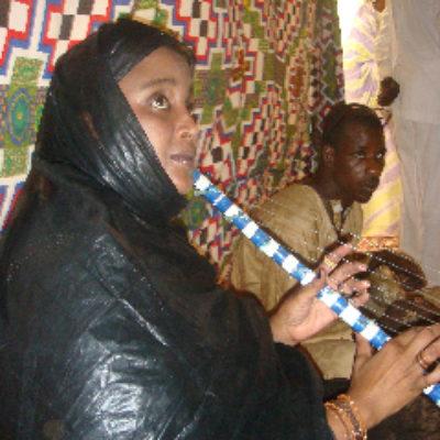 Joueuse d'ardin lors du vernissage de l'exposition à la Fondation Moktar Ould Daddah.
